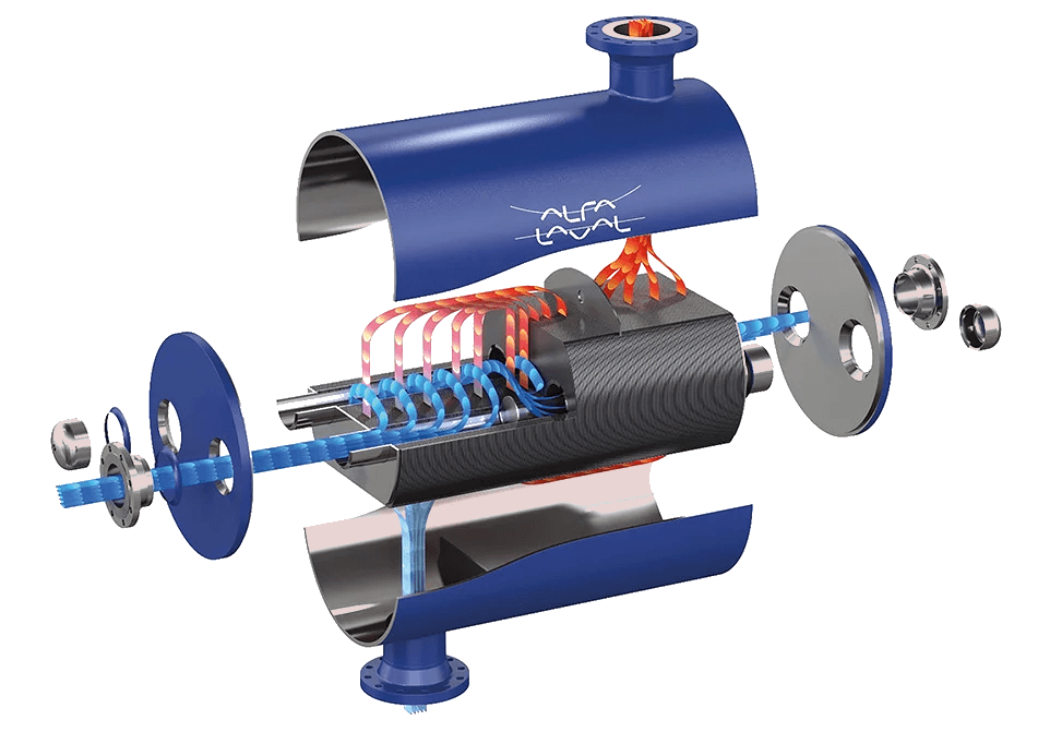 Alfa Laval DuroShell plate and shell heat exchanger exploded view