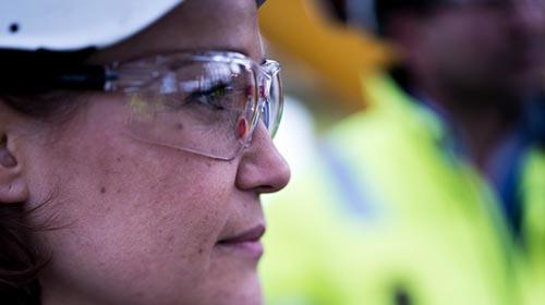 female engineer outside profile closeup