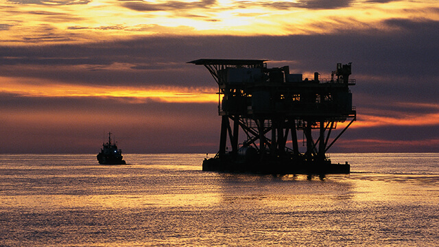 oil rig in sunset