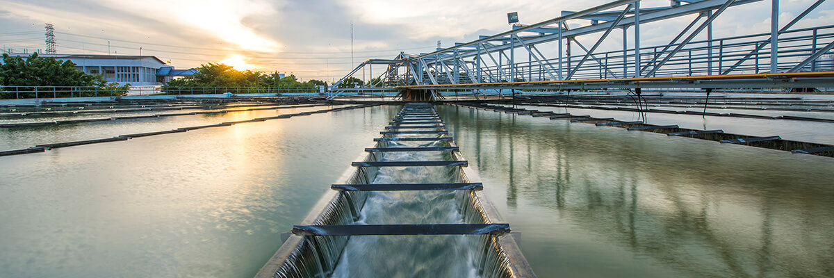 Wastewater plant at dusk banner