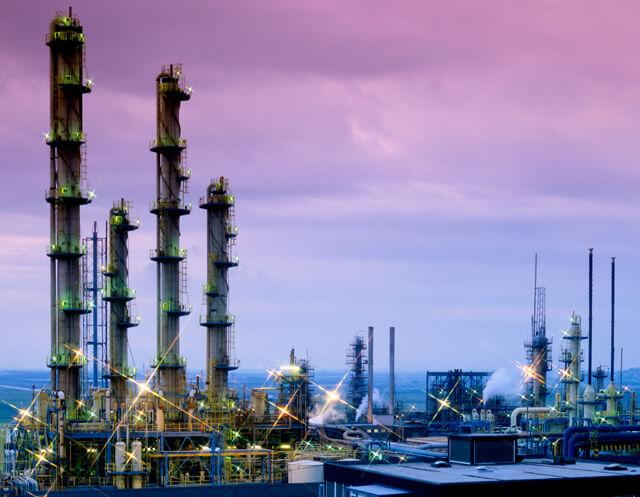 industry towers purple sky
