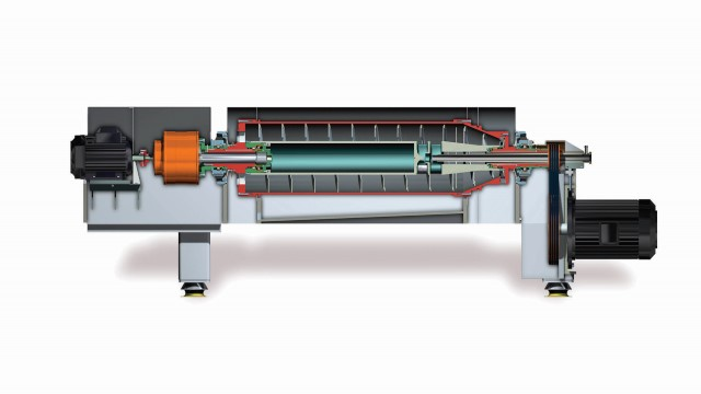 Imagen en planta del interior de un decanter centrifugo donde se pueden ver todas las partes