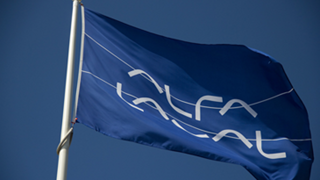 Alfa Laval blue flag waving in the wind