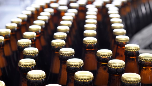 Beer bottles on a conveyor belt