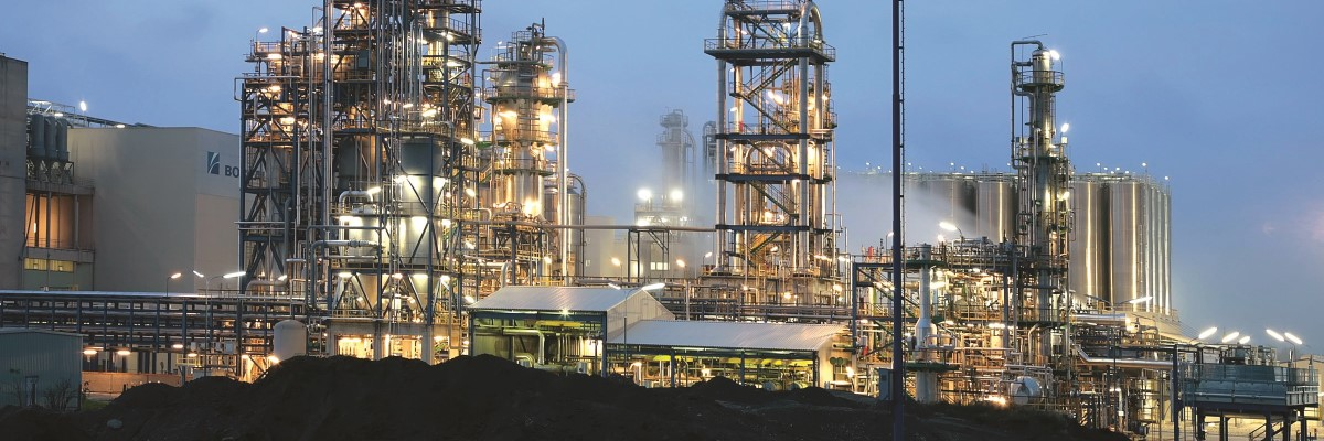 Petrochemical plant at dusk