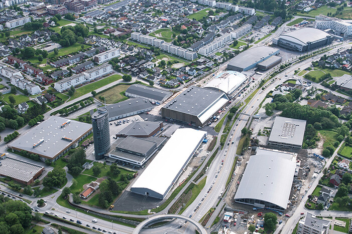 Aerial view of Tjensvoll exhibition center