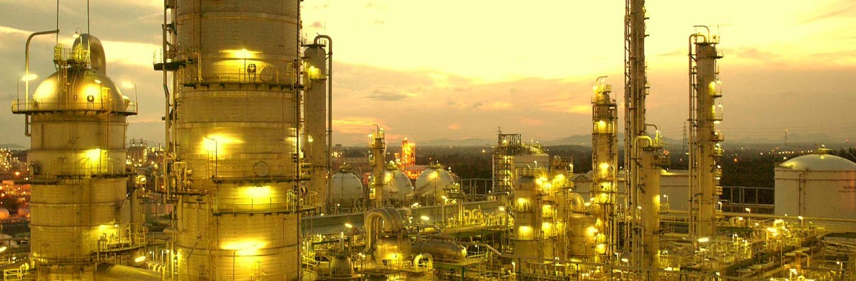 yellow tinted petrochemical plant
