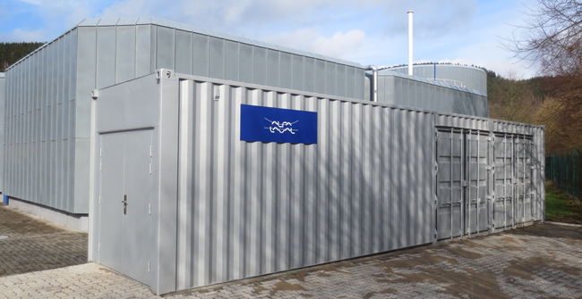 Container with Alfa Laval AS-H Belt thickener at Ruhrverbands Arnsberg wastewater plant