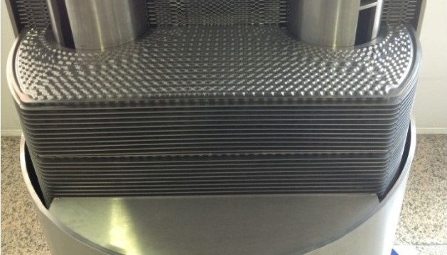 The interior of a duroshell heat exchanger
