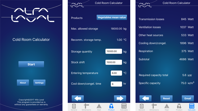 Alfa Laval - Cold room calculator