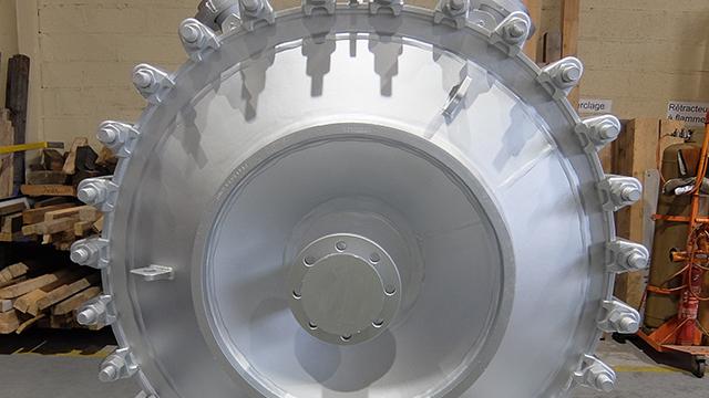 Closeup of an Alfa Laval welded spiral heat exchanger