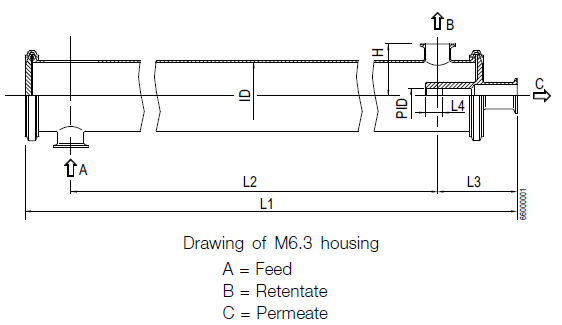 Drawing of 6.3 inch Alfa Laval housing