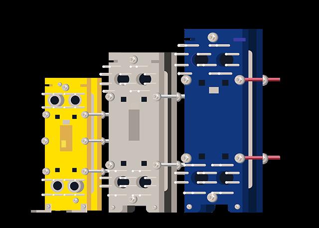PHE service 3 plate heat exchangers